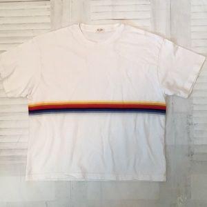 Brandy Melville John Galt rainbow white T-shirt